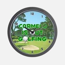 Carmelo is Out Golfing (Green) Golf Wall Clock
