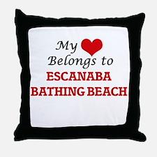My Heart Belongs to Escanaba Bathing Throw Pillow