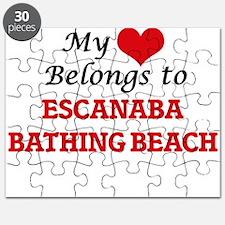 My Heart Belongs to Escanaba Bathing Beach Puzzle