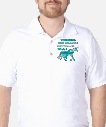 Unicorns Are Against Sexual Assault Golf Shirt