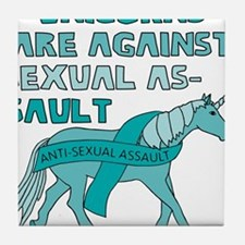 Unicorns Are Against Sexual Assault Tile Coaster