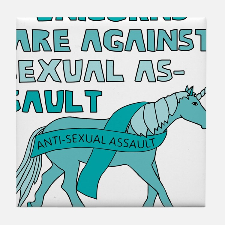 Unicorns Are Against Sexual Assault Tile Coaster
