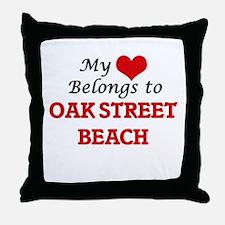 My Heart Belongs to Oak Street Beach Throw Pillow