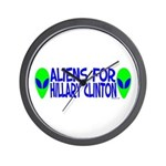 Aliens For Hillary Clinton Wall Clock
