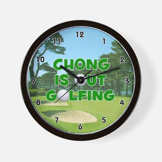 Chong is Out Golfing (Green) Golf Wall Clock