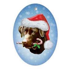 Chocolate Lab Holiday Oval Ornament