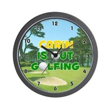 Carin is Out Golfing (Gold) Golf Wall Clock