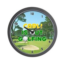 Carli is Out Golfing (Gold) Golf Wall Clock