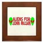 Aliens For John McCain Framed Tile