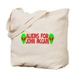 Aliens For John McCain Tote Bag