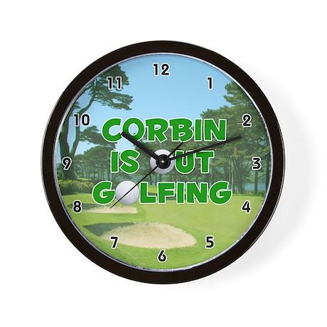 Corbin is Out Golfing (Green) Golf Wall Clock