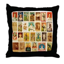 Old Timey Baseball Cards Throw Pillow