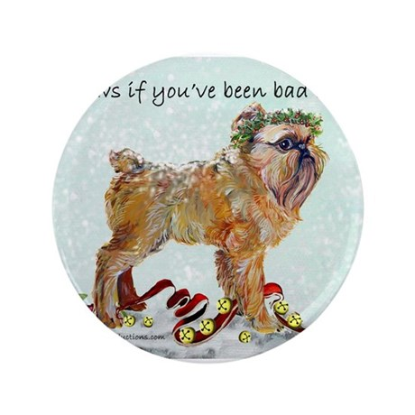 "Brussels Griffon Holiday Dog 3.5"" Button"