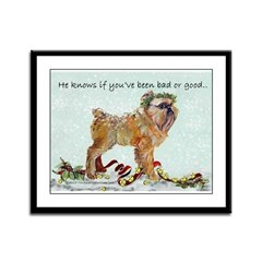 Brussels Griffon Christmas Framed Panel Print
