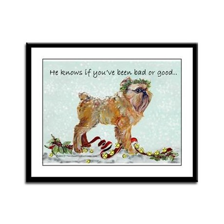 Brussels Griffon Holiday Dog Framed Panel Print