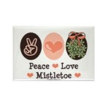 Peace Love Mistletoe Christmas Rectangle Magnet (1