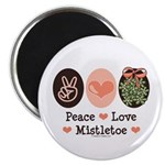 Peace Love Mistletoe Christmas Magnet