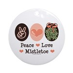 Peace Love Mistletoe Christmas Ornament (Round)