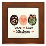 Peace Love Mistletoe Christmas Framed Tile