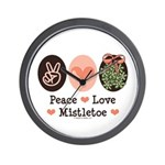 Peace Love Mistletoe Christmas Wall Clock