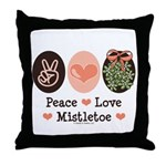 Peace Love Mistletoe Christmas Throw Pillow