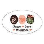 Peace Love Mistletoe Christmas Oval Sticker