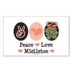 Peace Love Mistletoe Christmas Sticker (Rectangula