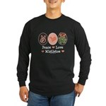 Peace Love Mistletoe Christmas Long Sleeve Dark T-
