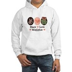 Peace Love Mistletoe Christmas Hooded Sweatshirt