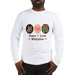 Peace Love Mistletoe Christmas Long Sleeve T-Shirt