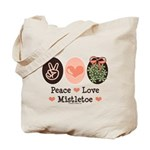 Peace Love Mistletoe Christmas Tote Bag