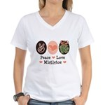 Peace Love Mistletoe Christmas Women's V-Neck T-Sh