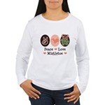 Peace Love Mistletoe Christmas Women's Long Sleeve