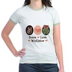 Peace Love Mistletoe Christmas Jr. Ringer T-Shirt