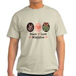 Peace Love Mistletoe Christmas Light T-Shirt