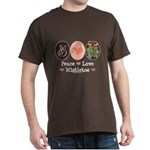 Peace Love Mistletoe Christmas Dark T-Shirt
