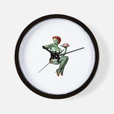 zombie pin-up girl Wall Clock