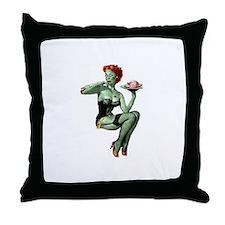 zombie pin-up girl Throw Pillow