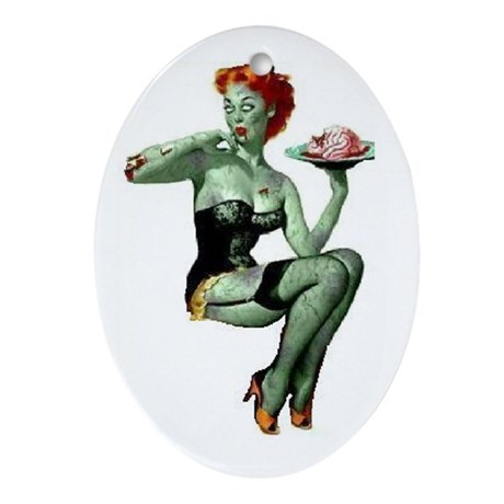zombie pin-up girl Ornament (Oval)