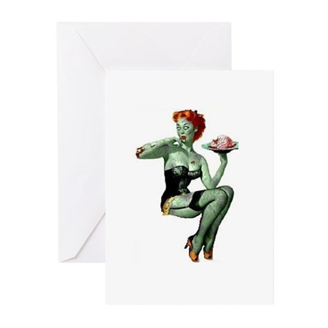 zombie pin-up girl Greeting Cards (Pk of 10)