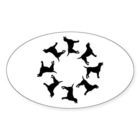 Labrador Dogs Circle Oval Sticker