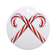 3D Candy Canes Ornament (Round)