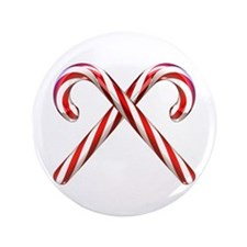 "3D Candy Canes 3.5"" Button (100 pack)"