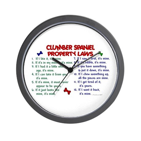 Clumber Spaniel Property Laws 2 Wall Clock