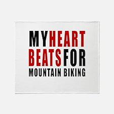 My Hear Beats For Mountain Biking Throw Blanket