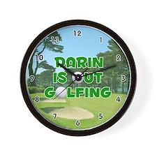 Darin is Out Golfing (Green) Golf Wall Clock