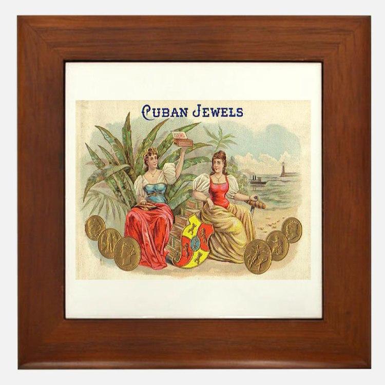 Cuban Jewels Cigar Art Framed Tile
