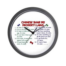 Chinese Shar Pei Property Laws 2 Wall Clock