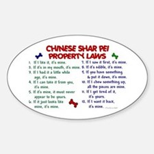 Chinese Shar Pei Property Laws 2 Oval Decal