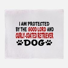 Protected By Curly Coated retriever Throw Blanket